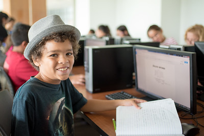 Zaleik Wisner works on his assignment during the Young Writers Camp.