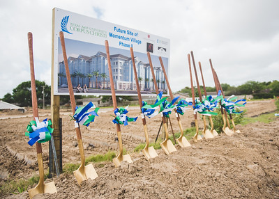 Ceremonial shovels in place for the Momentum Village phase 2 ground breaking.