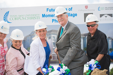 Colleen McIntyre (left), Nelda Martinez, Kathy Killebrew, Flavius Killebrew and Todd Hunter. During the Momentum Village Stage 2 ground breaking ceremony.