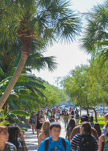 Students make their way around campus on the first day of class.