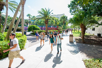 Students make their way to the breezeway on the first day of classes.
