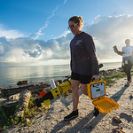 Emily Cira(left) and Jessica Tolan - research technicians under Dr. Wetz life sciences program. Release the ECO Mapper an autonomous underwater vehicle (AUV) used to collect data to survey b ...
