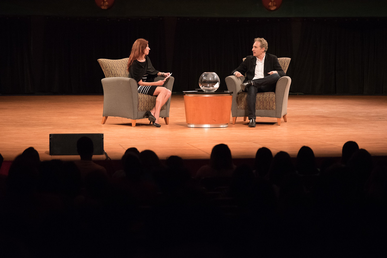 TAMU-CC / Marketing & Communications Q&A moderator Barbara Sczerbinska and Dr. Brian Greene.