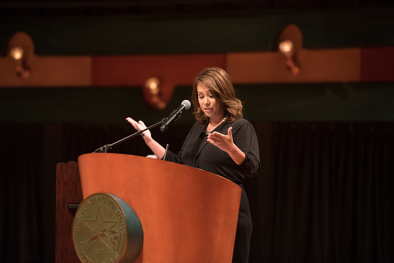 TAMU-CC / Marketing & Communications Jennifer Lira welcomes guests to the TAMU-CC Dr. Brian Greene Distinguished Speaker Series.