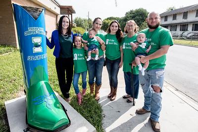 TAMU-CC student Katarina Chapa and her family pose next to the TAMU-CC boot in Mercedes, TX.