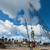 Crains over the construction site of the new life scince bulding Tidal Hall at TAMUCC on October 26, 2016