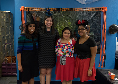 The party planning committee (Left) Director Elizibeth Shope and Students Andrea Rodriguez, Jillian Gomez, and Selesha Subnaik pose for a photo.