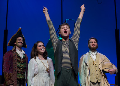 The cast of Peter and the Star Catcher (Left to right) Kenneth Gregory, Sierra Priest, Ben Hudson, and Spencer Tolleson at the end of their rehearsal