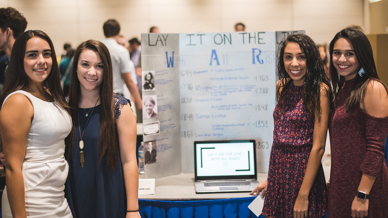 TAMUCC Students Fabiana Freire(left), Austyn Olivarez, Victoria San Pedro and Kristian Soto(right) present their First Year Symposium Project in the ballrooms of the University Center.