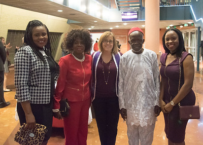 Inductee Obiageli Omeke (Right) with her family and Dr. Karen Lanasa (Middle)