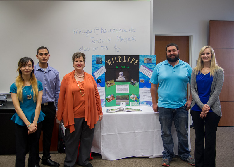Director of Wildlife In Focus Crystal Mead (Middle) with Students (left to right) Kitty Weitzel, Justin Saucedo, Garret Grosch, and Brandy Schlochler.