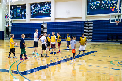 studnets partipate in the 2016 summer basketball camp