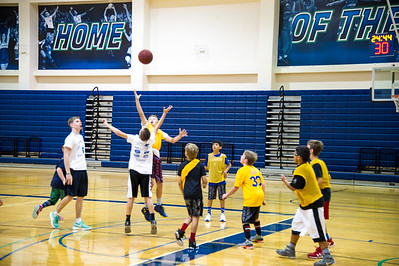 students jump for the ball at the 2016 summer basketball camp