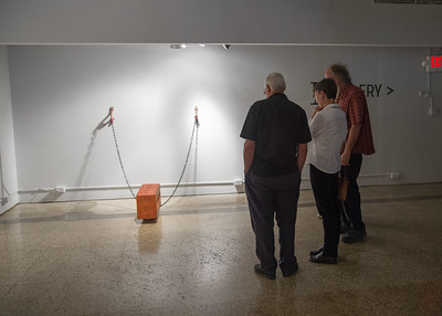 "Guests admiring the piece named ""Constraint""."