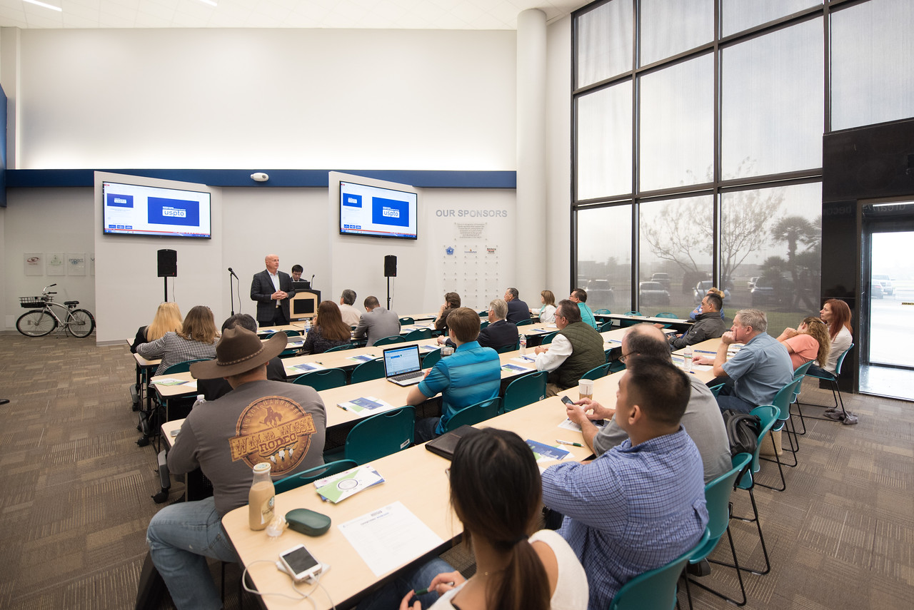 Russell Franques welcomes guests to the patents and trademarks educational workshop in the Coastal Bend Business Innovation Center. Saturday January 21, 2017.