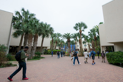 Students make their way through the breezeway on campus.