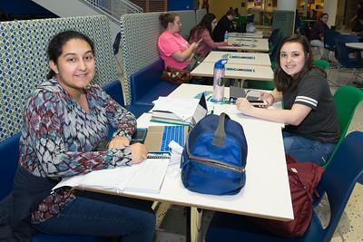 Lisa Vasquez (left) and Kelsi Price study in the university center.