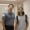 Dr. Kenneth Iyescas and Jordan Gonzalez pause for a photo in Bay Hall.