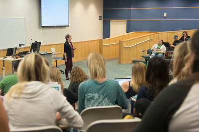 Professor Susan Greathouse discusses rules and regulations in her professional transitions class.