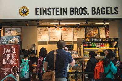 Students stop by Einstein Bros. during the brunch hour.