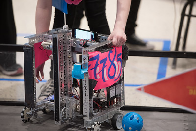 Team Pink Lady Hornets place their robot used in the First Tech Challenge, Saturday January 21, 2017.