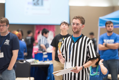 Volunteer Referee Mitch Burr asks if teams are prepared for the First TECH Challenge. Saturday January 21, 2017 at TAMU-CC.