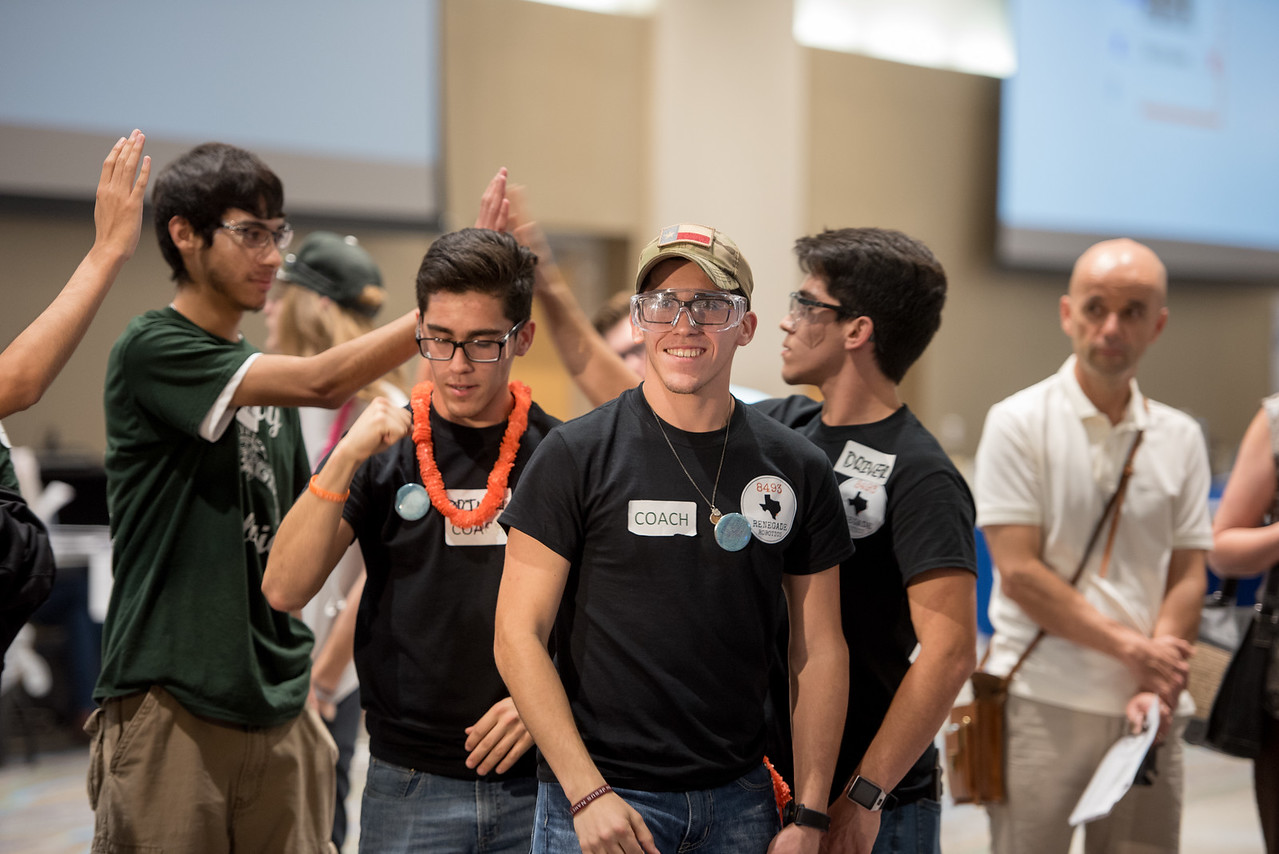 Team Renegade Robotics and Moody Robotics celebrate a victory during the First Tech Challenge. Saturday January 21, 2017 at TAMU-CC.