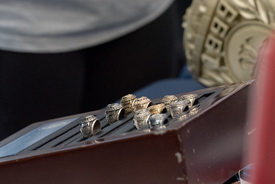 Rings displayed during the islander ring sale on campus.