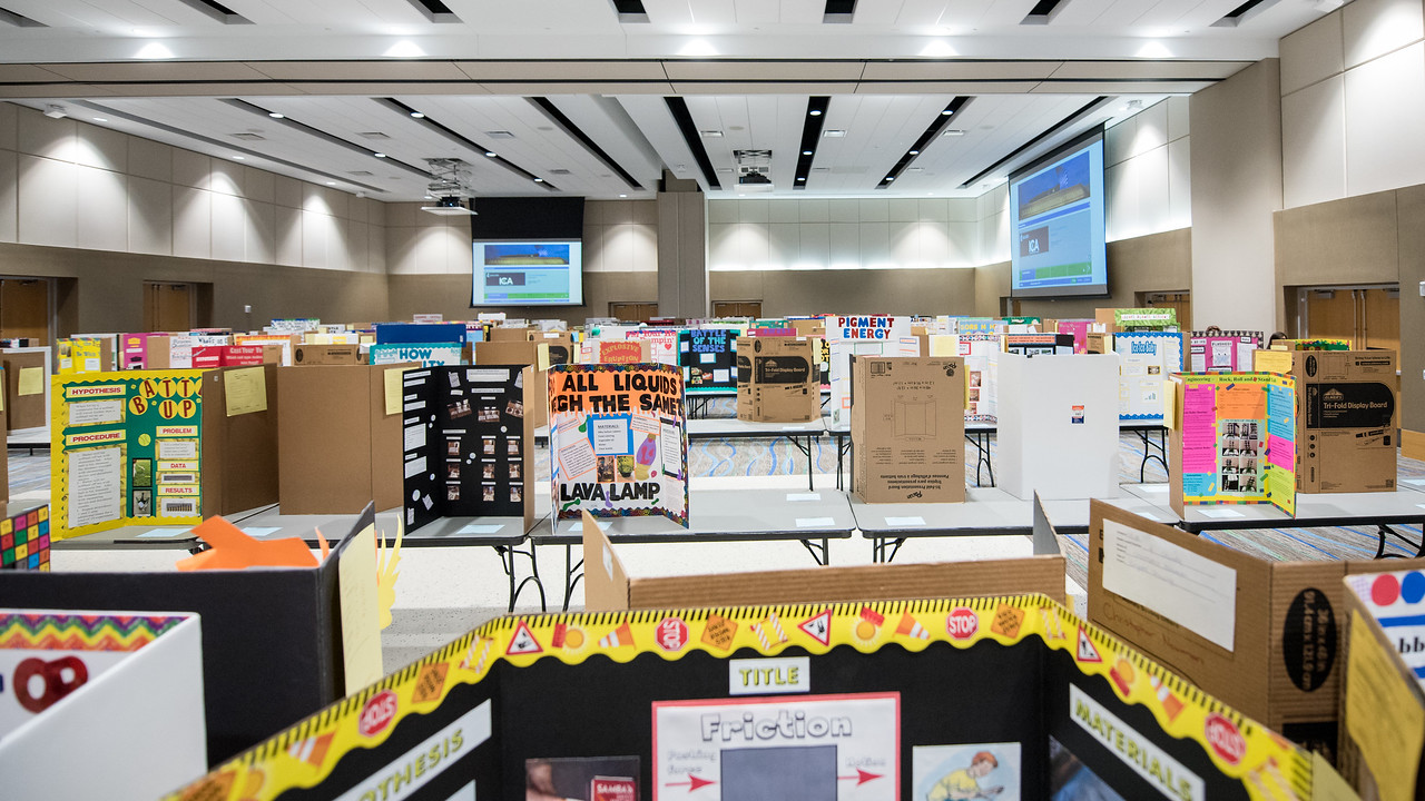 Poster boards are set up in the University Center, a day before the Coastal Bend Regional Science Fair. Friday January 27, 2017.