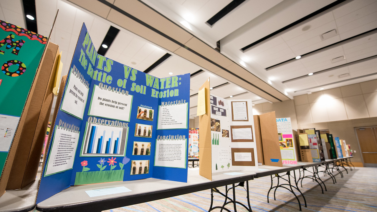 Posters are set up in the University Center, a day before the Coastal Bend Regional Science Fair. Friday January 27, 2017.