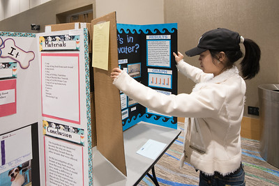 Student volunteer Nga Tran sets up a poster board for the Coastal Bend Regional Science Fair.