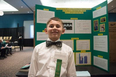 Henry Stanley (11)  stands in front of his project at the regional science fair on Saturday, January 28, 2017