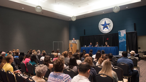 A panel of health care professionals answer questions during the Tobacco Education Summit.