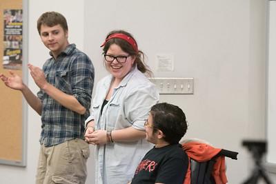 Austin Brady (left), Grace Taylor, and Kurt Wilkinson take part in the Islander Improv's Mission Improvable show.