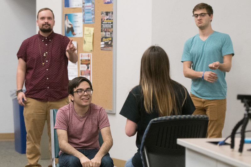 Gabriel Parker III, (left) Russell Aguirre, Amber Hullum and Micah Knupp take part in Islander Improv.