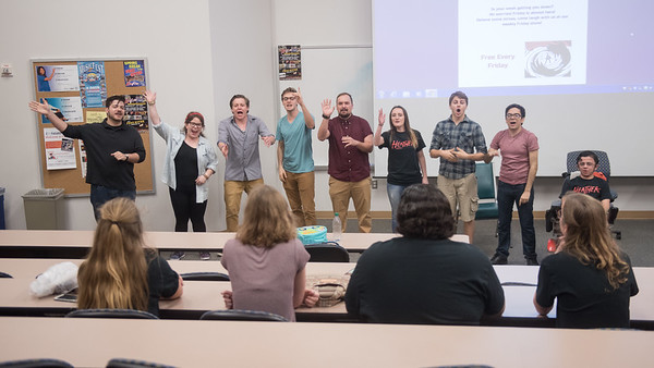 TAMU-CC Islander Improv team introduce themselves during the Mission Improvable Friday performance.