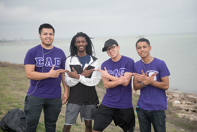 Ricardo Zavala (left), Chris Tucker, Frank Gallegos, and Alex Mojica from Sigma Lambda Beta pose for a photo during the 2017 Islander Spring Clean event.