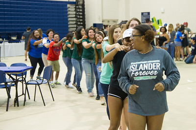 Students form a conga line during Friday Fiesta.