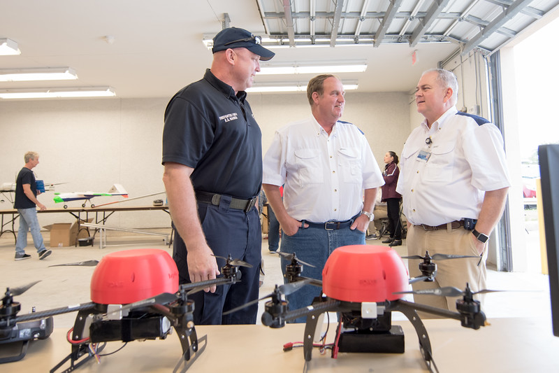 K.G. Maiden (left) Tom Frierson, and Jerry Hendrix during the Lone Star UAS Drone Expo. Saturday March 04, 2017.