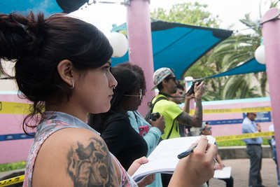 Student Kirsten Castillo takes notes during the crime scene demonstration. On Wednesday, March, 22, 2017