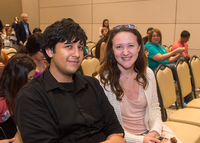 Students Gabriel Sifuentes (left) and Abigail Reinhardt attend the When We Are Bold speaker event.