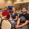 Students Dustin Wehe (left), Christine Shaw, an Isaac Martinez attend the When We Are Bold speaker event.