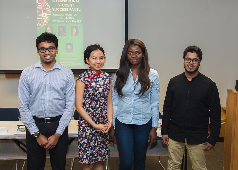 Arun Prassanth (left), Tran Hoang Ai Tran, Hilda Ofigo, and Abdulrahman Washili pose for a group photo after sharing their experiences attending TAMU-CC as international students during the International Student Success Panel.