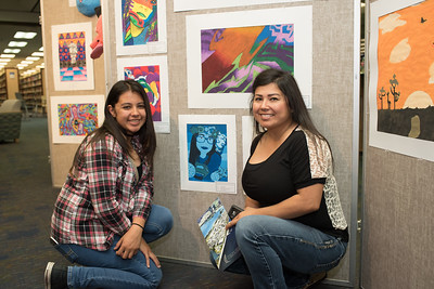 Dominique and Monique Montoya during the CCISD Art Gallery closing in the Mary and Jeff Bell Library.