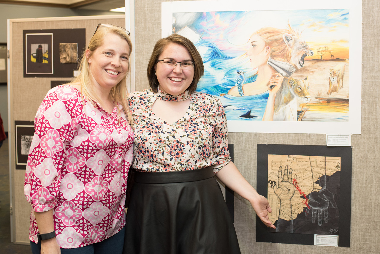 Sherilyn and Elisa Pena during the CCISD Art Gallery in the Mary and Jeff Bell Library.