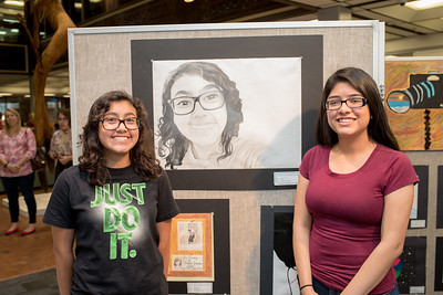 Jimena Vasquez and Wendy Martinez during the CCISD Art Gallery closing in the Mary and Jeff Bell Library.