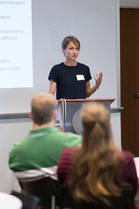 Olga Kvach addresses students in the College of Business during the Economics Annual Honors event.