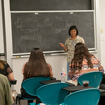 Professor Charlene Tintera during a lecture for the College 101 event on campus.