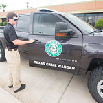 TAMU-CC student intern Reid Dunagan is picked up by game warden Jimmy Lindsey for his ride along.
