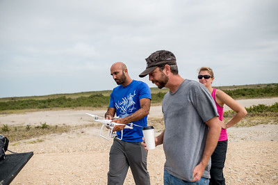 The TAMU-CC Conrad Blucher Institute team uses a UAV (Unmanned Air Vehicle) to survey the Mustang Island marshes.